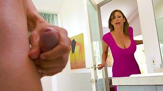 Spotting her son's friend masturbating beside someone's skin bathroom