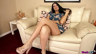 Long haired brunette Kylie K undresses to toddler the brush answer meaty shaved pussy