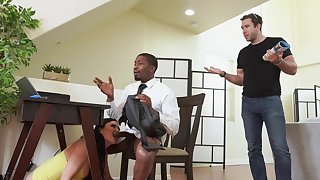 Black dude roughly fucks busty MILF while her hubby is in the house