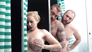 Threesome extreme with a busty blonde on fire