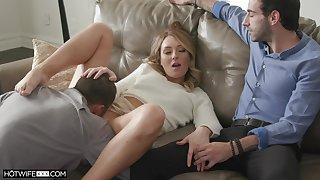 Couch sex in front of her hubby for a nasty homemade cuckold play