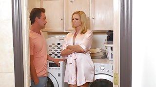 Horny wife Briana Banks gives a blowjob and rides his cock