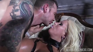 He makes his slave Alura Jenson swallow his loving sperm