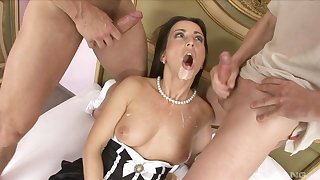 Mandy Saxo gets saturated with cum wide a hardcore MMF threesome