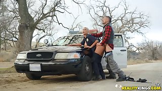 Slutty lady cop bent over her car and fucked outsider behind