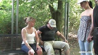 Amateur mature MILF gives a sloppy blowjob outdoors