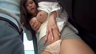 Big-Chested, Japanese black-haired is getting sexually abused in a public buss, saloon she enjoys it a pile