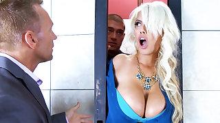 Sex-crazed employee fucking take captive busty secretary