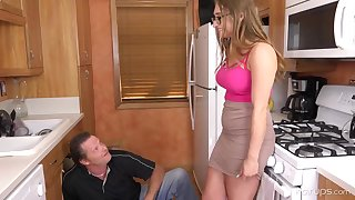 Enormous tited woman is cuckold on her hubby with a naughty neighbour, helter-skelter the larder