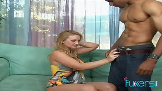 Blond nextdoor chick goes black coupled with takes cumshots on her boobies