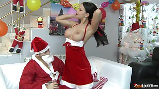 Naughty Santa fucks and cums purchase get under one's mouth of pitch-dark babe Abbie Gyrate