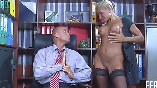 Sun-Tanned Russian cougar entices Office guy In His Cabinet porn tube