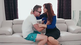 Mature stepmom Syren De Mer fucks her nerdy stepson for the first time