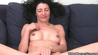 French granny with hairy pussy and about butt masturbates