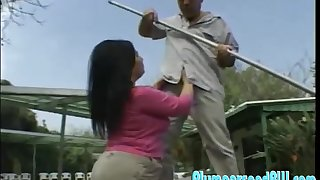 Chunky ass Milf Ginny doggystyle smashed open-air while moaning