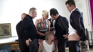 Tall Dutch bitch Jentina Small is fucked overwrought several well endowed studs