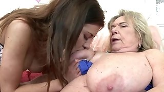 Insane grannie with fat drooping boobies and youthfull hussy lesian filly get it on porn movie