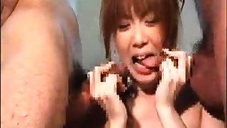 Kinky Japanese bathhouse blowjob with busty milf crowd