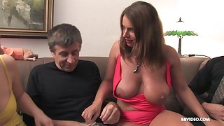 Mature horny sluts seduce their male friends into an orgy