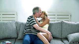 Lovely blond babe Sarah Cute gets her pussy licked and fucked by old man