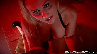 Real blonde hooker Julia Ann smokes a cigarette and gives a blowjob