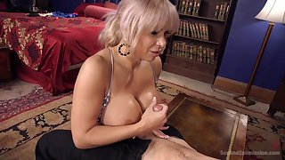Helpless blonde milf Alyssa Lynn with a ball gag gets fucked