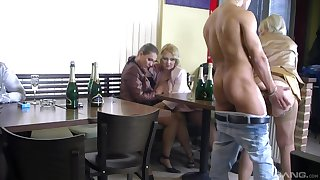 Intense sex at the bar with a bunch of hot women
