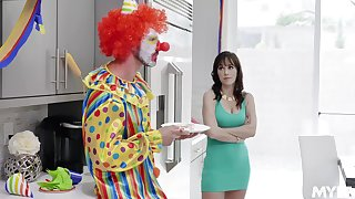 MILF gets busy with the clown from her son's birthday