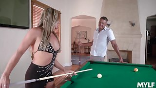 Slutty bitch with nice booty spreads legs on the billiard table for mish