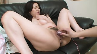Hairy pussy oriental chick is pleasured