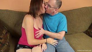 Big titty amateur cutie lets an old man pound her cunt